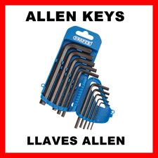 Allen Keys, Sets and individual sizes, Imperial and Metric.